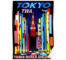 """""""TWA"""" Fly to Tokyo Travel Print Poster"""
