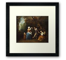 Jean-Antoine Watteau - The Country Dance.Family portrait: father and son, mother and daughter, female and male, dad daddy, child baby, beautiful dress, lovely family, mothers day, memory, mom, friends Framed Print