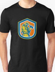 Fireman Firefighter Holding Fire Axe Shield  Unisex T-Shirt