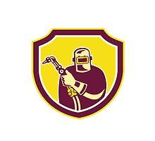 Welder Holding Welding Torch Shield Retro  by patrimonio