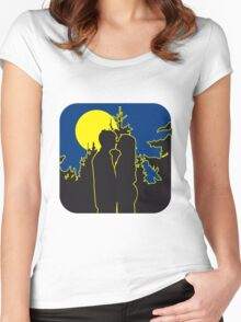 full moon romance love couple love couple Women's Fitted Scoop T-Shirt