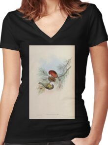Birds of Asia John Gould 1883 V1 V7 341 Loxia Himalayana Women's Fitted V-Neck T-Shirt