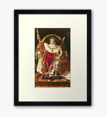 Jean-Auguste-Dominique Ingres - Napoleon I On The Imperial Throne. Man portrait: strong man, boy, male, beard, business suite, masculine, boyfriend, smile, manly, sexy men, mustache Framed Print