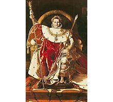 Jean-Auguste-Dominique Ingres - Napoleon I On The Imperial Throne. Man portrait: strong man, boy, male, beard, business suite, masculine, boyfriend, smile, manly, sexy men, mustache Photographic Print