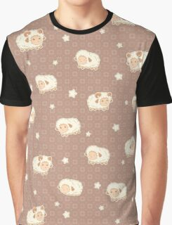 Cute Little Sheep on Tan Brown Graphic T-Shirt