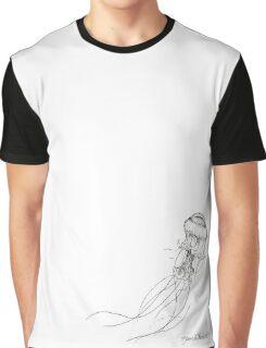 Jellyfish Sketch - Black and White Nautical Theme Decor Graphic T-Shirt