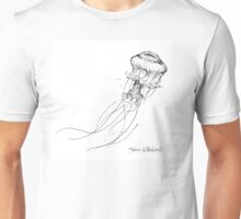 Jellyfish Sketch - Black and White Nautical Theme Decor Unisex T-Shirt
