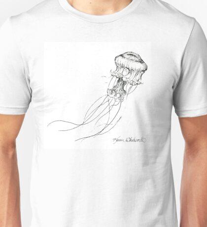 Jellyfish Sketch - Black and White Nautical Theme Decor Unisex T-Shirt