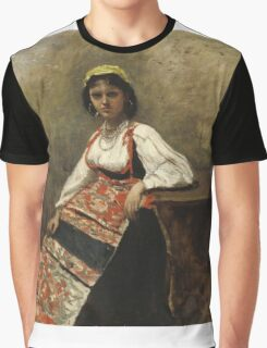Jean-Baptiste-Camille Corot - Italian Girl corot. Woman portrait: sensual woman, girly art, female style, pretty women, femine, beautiful dress, cute, creativity, love, sexy lady, erotic pose Graphic T-Shirt