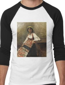 Jean-Baptiste-Camille Corot - Italian Girl corot. Woman portrait: sensual woman, girly art, female style, pretty women, femine, beautiful dress, cute, creativity, love, sexy lady, erotic pose Men's Baseball ¾ T-Shirt