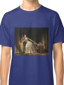 Jean-Honore Fragonard - The Stolen Kiss. Lovers portrait: sensual woman, woman and man, kiss, kissing lovers, love relations, lovely couple, family, valentine's day, sexy, romance, female and male Classic T-Shirt