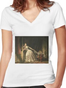 Jean-Honore Fragonard - The Stolen Kiss. Lovers portrait: sensual woman, woman and man, kiss, kissing lovers, love relations, lovely couple, family, valentine's day, sexy, romance, female and male Women's Fitted V-Neck T-Shirt