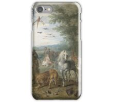 Jan Brueghel The Elder - Paradise Landscape With The Animals Entering Noah S Ark. Animal portrait: cute cat, horse, race, man hobby, running, wild life, animal, racing mustang, hunt, cowboy, sport iPhone Case/Skin