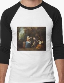 Jean-Antoine Watteau - The Country Dance.Family portrait: father and son, mother and daughter, female and male, dad daddy, child baby, beautiful dress, lovely family, mothers day, memory, mom, friends Men's Baseball ¾ T-Shirt
