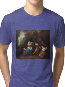 Jean-Antoine Watteau - The Country Dance.Family portrait: father and son, mother and daughter, female and male, dad daddy, child baby, beautiful dress, lovely family, mothers day, memory, mom, friends Tri-blend T-Shirt