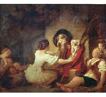 Jean-Honore Fragonard - Education Is All. Dog painting: cute dog, dogs, doggy, lucky, pets, wild life, animal, smile, little small, kids, nature Photographic Print