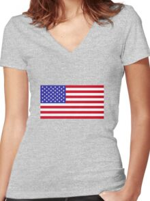 USA Flag Women's Fitted V-Neck T-Shirt