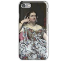 Jean-Auguste-Dominique Ingres - Madame Moitessier. Woman portrait: sensual woman, girly art, female style, pretty women, femine, beautiful dress, cute, creativity, love, sexy lady, erotic pose iPhone Case/Skin