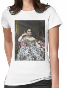 Jean-Auguste-Dominique Ingres - Madame Moitessier. Woman portrait: sensual woman, girly art, female style, pretty women, femine, beautiful dress, cute, creativity, love, sexy lady, erotic pose Womens Fitted T-Shirt