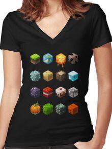 Blocks Women's Fitted V-Neck T-Shirt