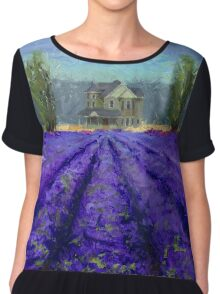 Plein Air Lavender Landscape and Farm House Impressionistic Painting Chiffon Top