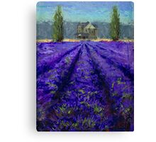 Plein Air Lavender Landscape and Farm House Impressionistic Painting Canvas Print