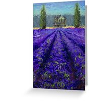 Plein Air Lavender Landscape and Farm House Impressionistic Painting Greeting Card