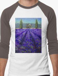 Plein Air Lavender Landscape and Farm House Impressionistic Painting Men's Baseball ¾ T-Shirt