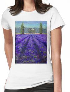 Plein Air Lavender Landscape and Farm House Impressionistic Painting Womens Fitted T-Shirt
