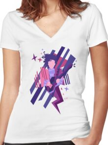 Purple Ghost Women's Fitted V-Neck T-Shirt