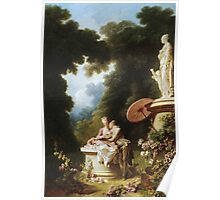 Jean-Honore Fragonard - Love Letters. Lovers portrait: sensual woman, woman and man, kiss, kissing lovers, love relations, lovely couple, family, valentine's day, sexy, romance, female and male Poster