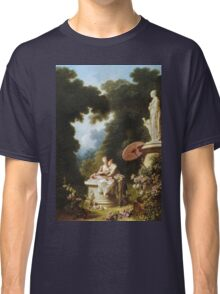 Jean-Honore Fragonard - Love Letters. Lovers portrait: sensual woman, woman and man, kiss, kissing lovers, love relations, lovely couple, family, valentine's day, sexy, romance, female and male Classic T-Shirt