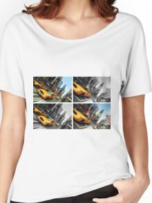 NYC Times Square. New York City Taxi. Women's Relaxed Fit T-Shirt
