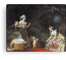 Jean-Honore Fragonard - The First Steps. Mother with kid portrait: cute girl, mother and daughter, female, pretty angel, child, beautiful dress, lovely family, mothers day, memory, mom mum mam, baby Canvas Print