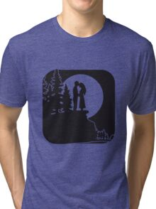 full moon romance love couple Tri-blend T-Shirt