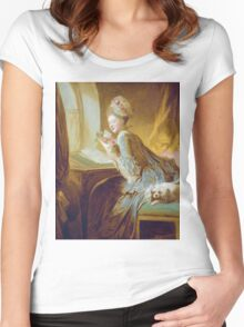 Jean-Honore Fragonard - The Love Letter 1770. Woman portrait: sensual woman, girly art, female style, pretty women, femine, beautiful dress, cute, creativity, love, sexy lady, erotic pose Women's Fitted Scoop T-Shirt