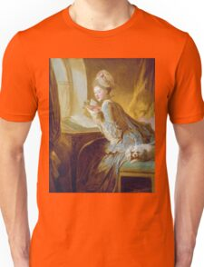 Jean-Honore Fragonard - The Love Letter 1770. Woman portrait: sensual woman, girly art, female style, pretty women, femine, beautiful dress, cute, creativity, love, sexy lady, erotic pose Unisex T-Shirt