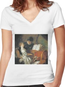 Jean-Honore Fragonard - The Music Lesson. Girl portrait: cute girl, girly, female, pretty angel, child, beautiful dress, face with hairs, smile, little, kids, baby Women's Fitted V-Neck T-Shirt