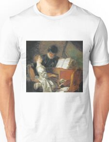 Jean-Honore Fragonard - The Music Lesson. Girl portrait: cute girl, girly, female, pretty angel, child, beautiful dress, face with hairs, smile, little, kids, baby Unisex T-Shirt
