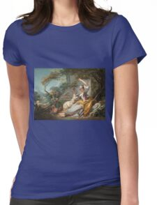 Jean-Honore Fragonard - The Shepherdess 1750. Girl portrait: cute girl, girly, female, pretty angel, child, beautiful dress, face with hairs, smile, little, kids, baby Womens Fitted T-Shirt