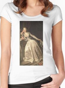 Jean-Honore Fragonard - The Stolen Kiss. Lovers portrait: sensual woman, woman and man, kiss, kissing lovers, love relations, lovely couple, family, valentine's day, sexy, romance, female and male Women's Fitted Scoop T-Shirt