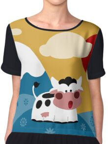 Floral Cow Chiffon Top