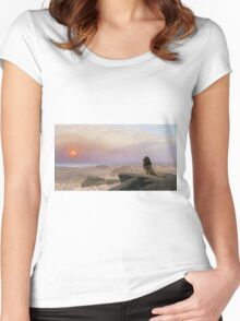 Jean-Leon Gerome - The Two Majesties. Sea landscape: sea view, mountains, calm sea, king of beasts, coast seaside, sunset, marin, seascape, sun clouds, nautical panorama, lion Women's Fitted Scoop T-Shirt
