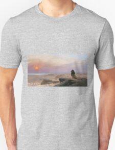 Jean-Leon Gerome - The Two Majesties. Sea landscape: sea view, mountains, calm sea, king of beasts, coast seaside, sunset, marin, seascape, sun clouds, nautical panorama, lion Unisex T-Shirt