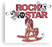 Cute funny pink rock star rocking horse Canvas Print