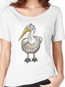 Artistic pelican bird drawing design Women's Relaxed Fit T-Shirt