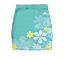 Blue retro flowers Design Mini Skirt