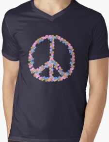 Floral Peace Mens V-Neck T-Shirt