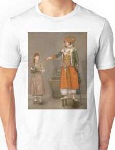 Jean-Etienne Liotard - A Frankish Woman And Her Servant. Woman portrait: sensual woman, girly art, female style, pretty women, femine, beautiful dress, cute, creativity, love, sexy lady, erotic pose Unisex T-Shirt