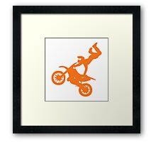 Simple orange dirt bike motocross design Framed Print